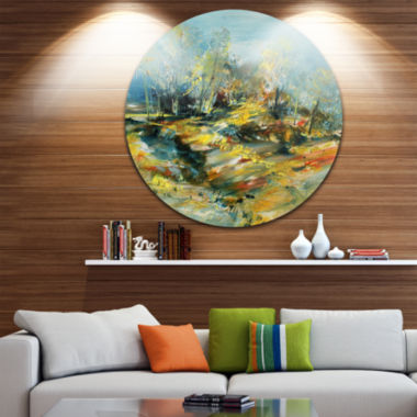 Design Art Abstract Landscape Abstract Metal Circle Wall Art