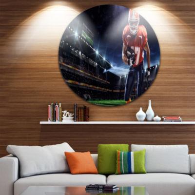 Design Art American Footballer in Action on Stadium Disc Sport Circle Metal Wall Art