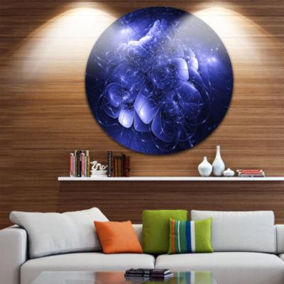 Design Art Alien Mystical Flower Blue Floral Circle Metal Wall Art