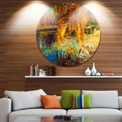 Design Art Autumn Forest and Sky Landscape Metal Circle Wall Art