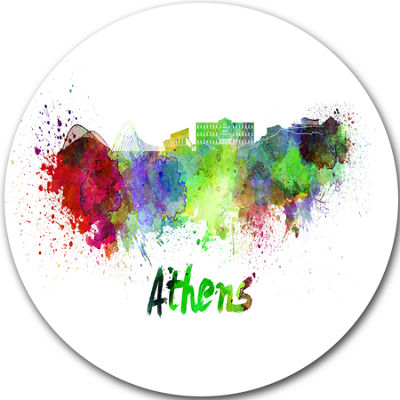 Design Art Athens Skyline Disc Cityscape Metal Artwork Print