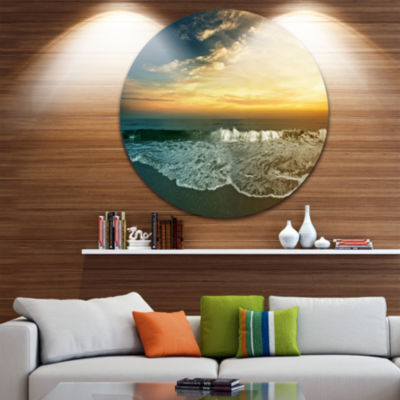 Design Art Beach Panorama Disc Landscape Circle Metal Wall Art