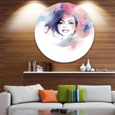 Design Art Beautiful Girl Portrait Disc Portrait Circle Metal Wall Art