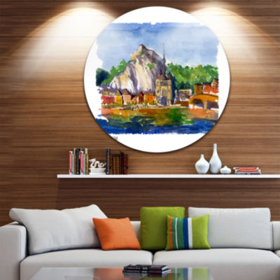 Design Art Belgium Vector Illustration Disc Cityscape Painting Circle Metal Wall Art