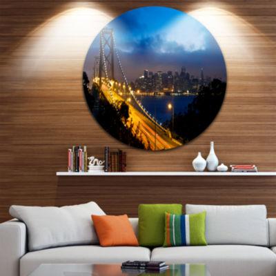 Design Art Bay Bridge San Francisco Disc CityscapePhoto Circle Metal Wall Art