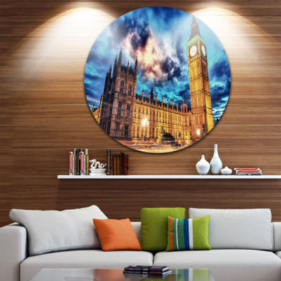 Design Art Big Ben UK and House of Parliament DiscCityscape Photo Circle Metal Wall Art