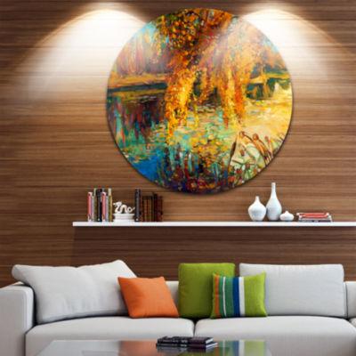 Design Art Autumn Forest and Sky Landscape Metal Circle Wall Art