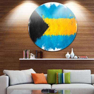 Design Art Bahamas Flag Illustration Flag PaintingCircle Circle Metal Wall Art