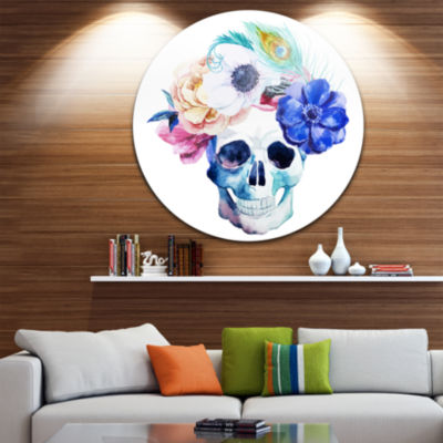 Design Art Anemones and Scull Disc Floral Circle Metal Wall Art