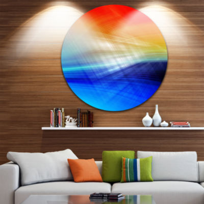 Design Art 3D Mix of Red Blue Yellow Abstract Circle Metal Wall Art