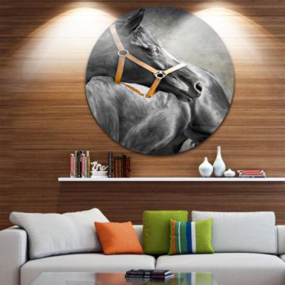 Design Art Black Horse Animal Circle Metal Wall Art