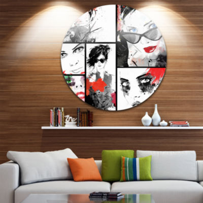 Design Art Beautiful Faces Collage Disc Abstract Portrait Circle Metal Wall Art