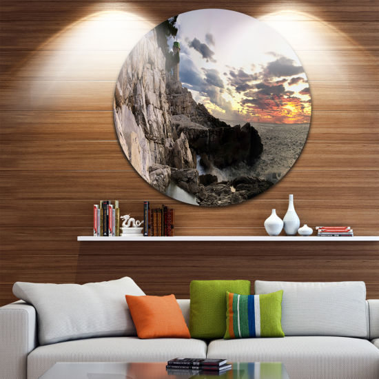 Design Art Adiratic Sunset Landscape Photography Circle Metal Wall Art