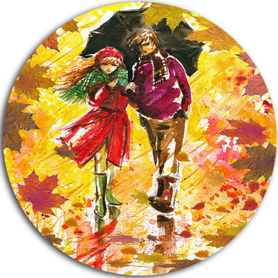 Design Art Autumn Walk of Couple Landscape CircleMetal Wall Art
