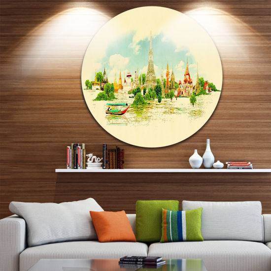 Design Art Bangkok Panoramic View Disc Cityscape Watercolor Circle Metal Wall Art
