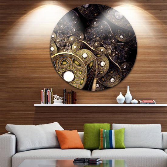 Design Art Beautiful Gold Metallic Fabric Disc Large Contemporary Circle Metal Wall Arts