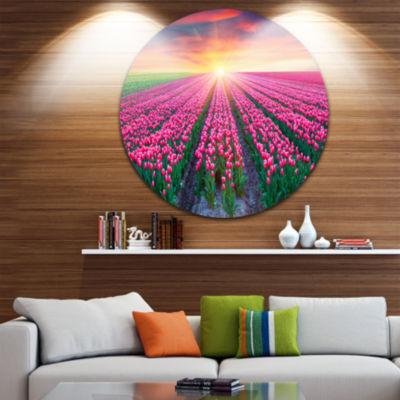 Design Art Blooming Tulips at Sunrise Disc Photography Circle Metal Wall Art