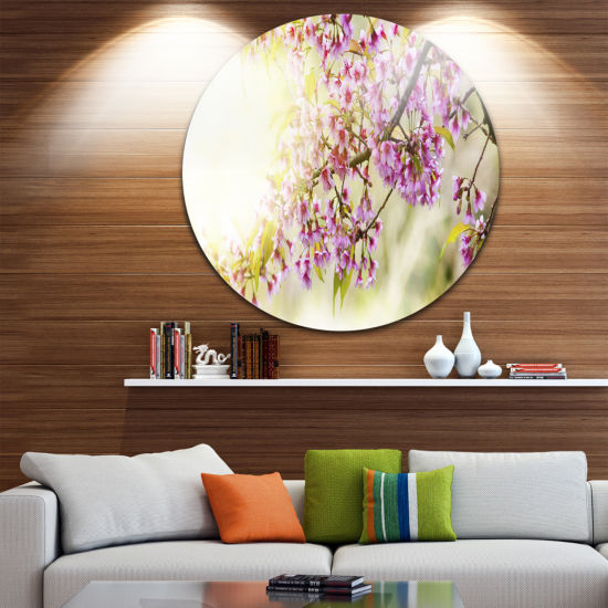 Design Art Blooming Cherry Flowers Floral Photography Circle Metal Wall Art