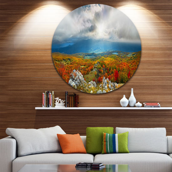 Design Art Autumn in Crimean Mountains Landscape Photography Circle Metal Wall Art