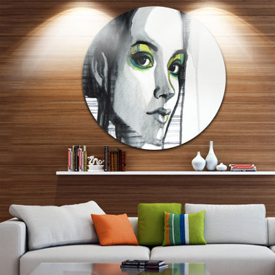 Design Art Black Illustrated Girl Disc Abstract Portrait Circle Metal Wall Art