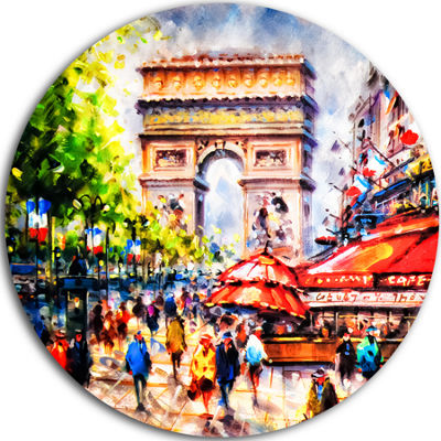 Design Art Arc d Triomphe Paris Cityscape Circle Metal Wall Art