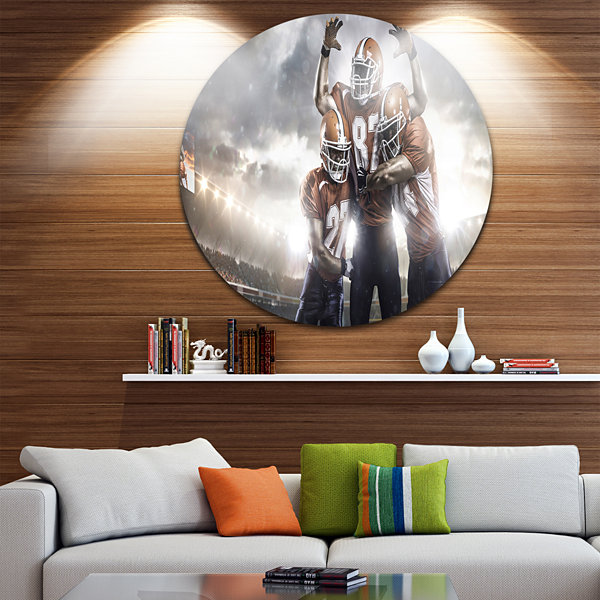 Design Art American Football Players on Stadium Disc Sport Circle Metal Wall Art
