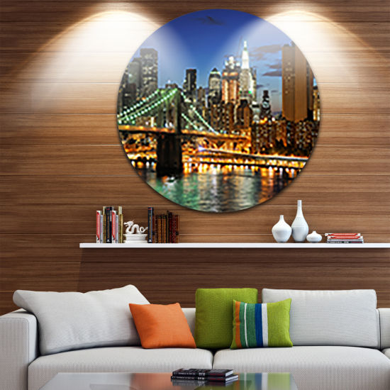 Design Art Big Apple after Sunset Disc Cityscape Photo Circle Metal Wall Art