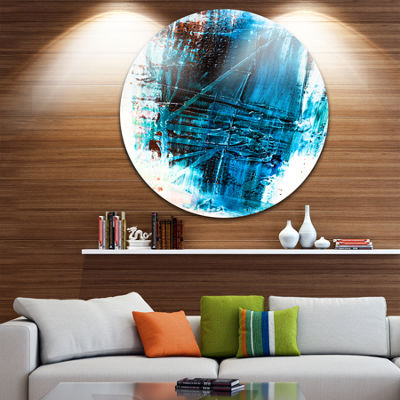 Design Art Abstract Blue Structure Art Abstract Metal Circle Wall Art
