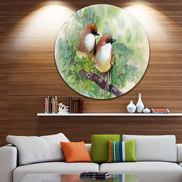 Design Art Birds of Spring Disc Animal Painting Circle Metal Wall Art