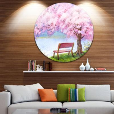 Design Art Bench under Flowering Peach Tree FloralCircle Metal Wall Art