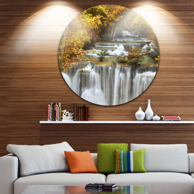 Design Art Autumn Huai Mae Kamin Waterfall Disc Abstract Metal Artwork