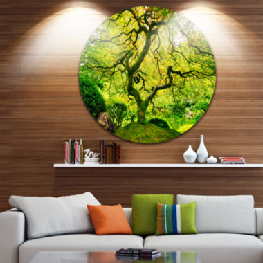 Design Art Amazing Green Tree Disc Photography Circle Metal Wall Art