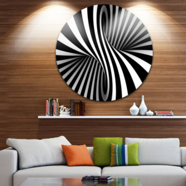 Design Art Black and White Spiral Disc Abstract Circle Metal Wall Art