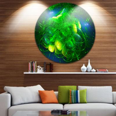 Design Art Alien Mystical Flower Green Floral Circle Metal Wall Art