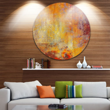 Design Art Ambient Canvas Grunge Disc Abstract Circle Metal Wall Art