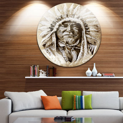 Design Art American Indian Head Tattoo Sketch Portrait Circle Metal Wall Art
