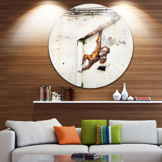 Design Art Baby Orangutan Hanging from Pipe Disc Street Art Circle Metal Wall Art