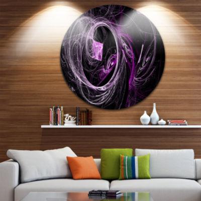 Design Art Billowing Smoke Purple in Black Abstract Circle Metal Wall Art
