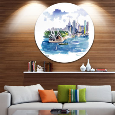 Design Art Australia Vector Illustration Disc Cityscape Painting Circle Metal Wall Art