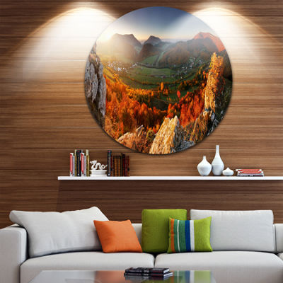 Design Art Autumn Mountains Panorama Disc Photography Circle Metal Wall Art