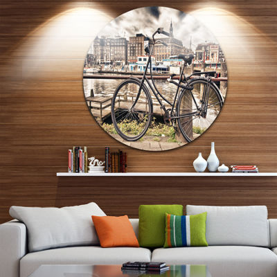 Design Art Bike Over Bridge in Amsterdam CityscapePhoto Circle Metal Wall Art