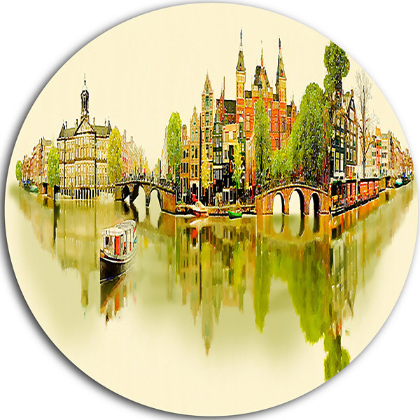 Design Art Amsterdam Panoramic View Disc CityscapeWatercolor Circle Metal Wall Art