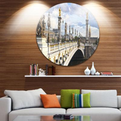 Design Art Alexandre III Bridge Panoramic View Disc Photography Circle Metal Wall Art