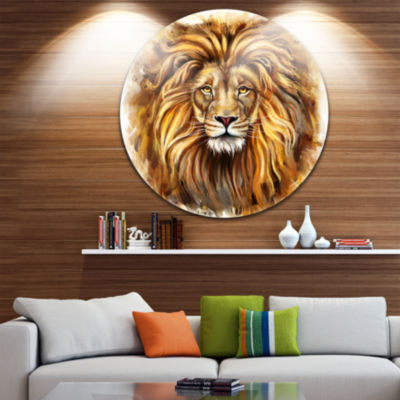 Design Art Angry King of Forest Animal Circle Metal Wall Art