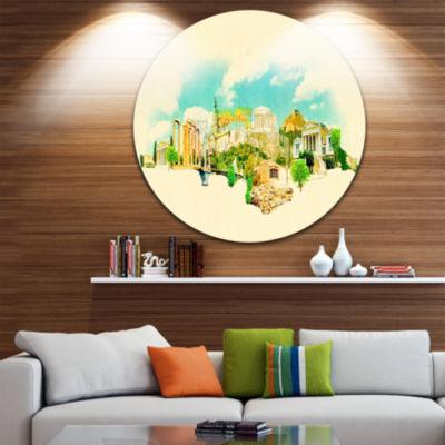 Design Art Athens Panoramic View Disc Cityscape Watercolor Circle Metal Wall Art