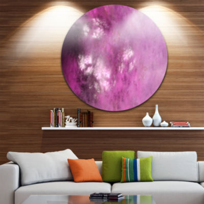 Design Art Blur Pink Sky with Stars Abstract RoundCircle Metal Wall Decor