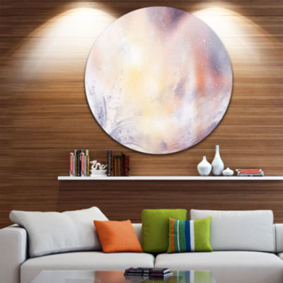 Design Art Blurry Watercolor with Star Disc LargeContemporary Circle Metal Wall Art