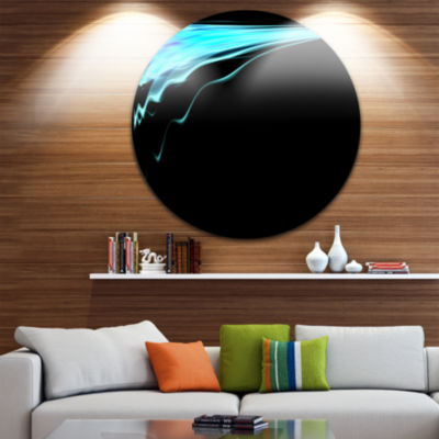 Design Art Blue Flames Digital Artwork Abstract Art on Round Circle Metal Wall Decor Panel