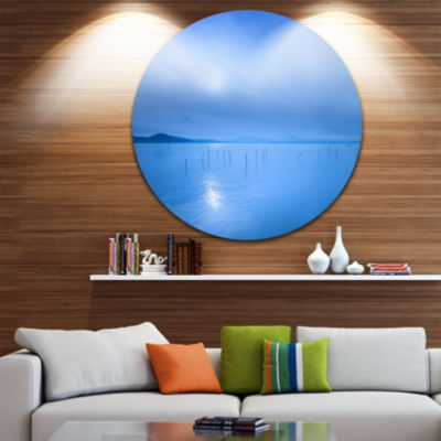 Design Art Blue Water Surface in Morning SeascapeCircle Metal Wall Art