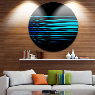 Design Art Blue Fractal Flames on Black Abstract Art on Round Circle Metal Wall Decor Panel
